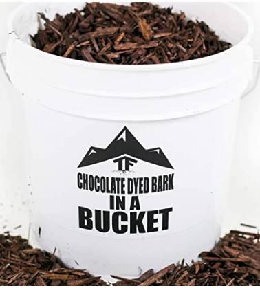 Chocolate Dyed Bark Mulch in Bucket