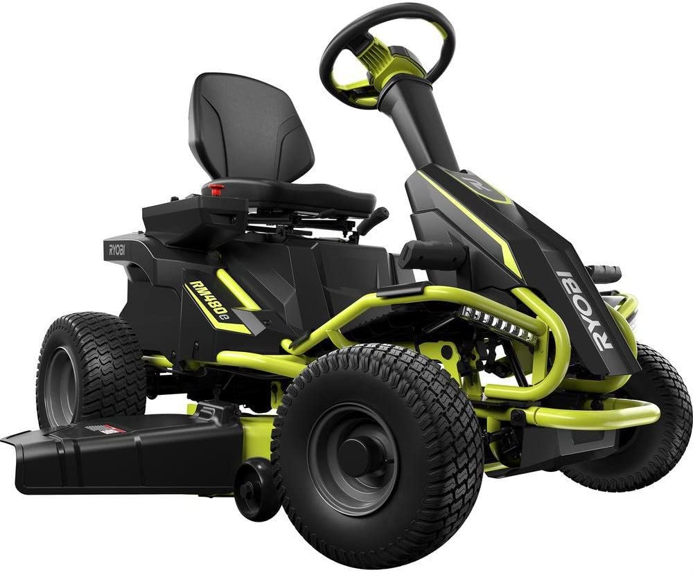 "Ryobi 38"" Battery Electric Rear Engine Riding Lawn Mower"